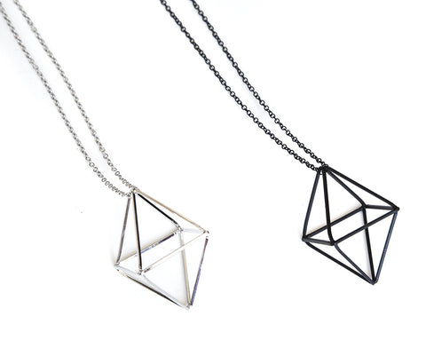 Double Pyramid 3D Pendant Necklaces, Well Done Goods