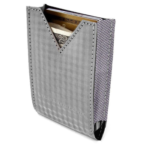 STEWART/STAND - V-Pouch Checkered - Silver (Vegan / RFID Blocking)
