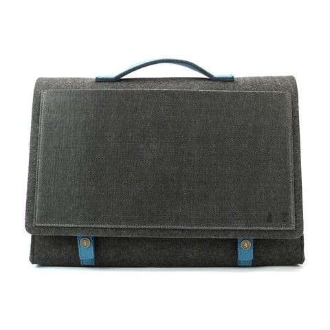 M.R.K.T. Manhattan Briefcase - Charcoal. Smrt Felt / Vegan Leather