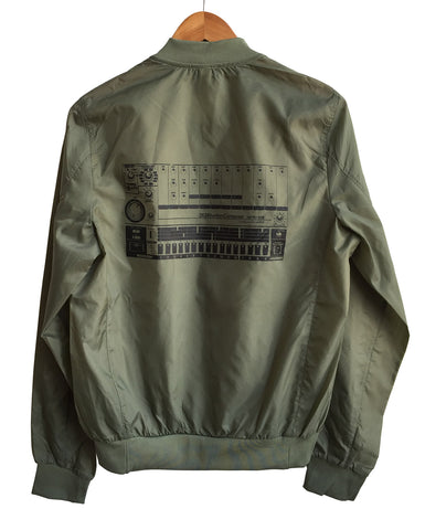 808 Drum Machine Lightweight Olive Green Bomber Jacket, Well Done Goods