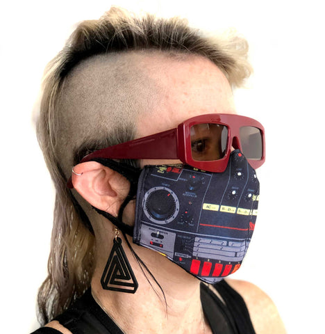 808 Face Mask, Drum Machine Print. Fitted Two Layer Cloth Face Cover