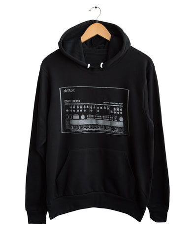 909 Drum Sequencer, Detroit DR-909 Black Unisex Pullover Hoodie, Well Done Goods