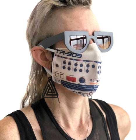 909 Face Mask, Drum Machine Print. Fitted Two Layer Cloth Face Cover, Hand Made in Detroit, USA