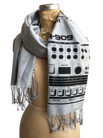 909 Drum Sequencer Scarf, Detroit DR-909 Linen-Weave Pashmina, Well Done Goods
