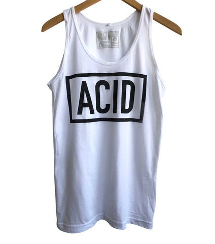 ACID Text Print Black on White Unisex Tank Top, Well Done Goods