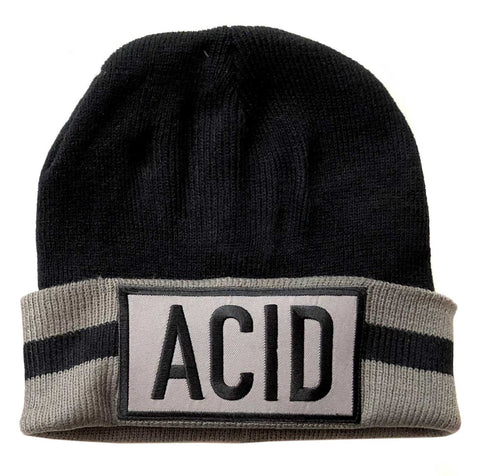 ACID Beanie Cap, Black + Grey Stripe. Well Done Goods