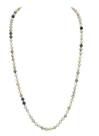 Mala Bead Necklaces, Natural Stone Long Beaded Necklaces
