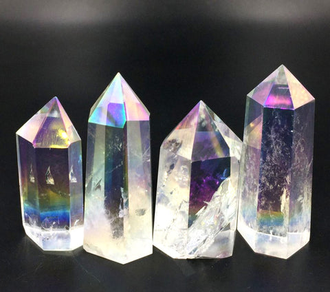 Angel Aura Crystal Points, Light Rainbow Quartz Small Towers