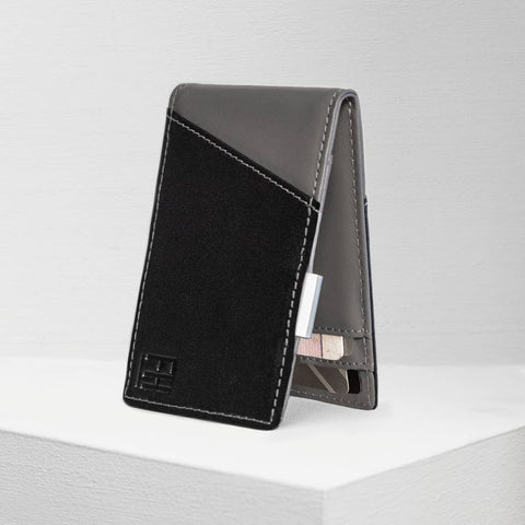 Black and Grey RFID Money Clip Wallet, by Forrest & Harold