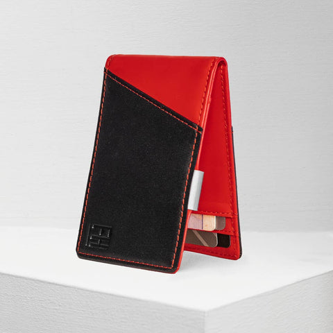 Black and Red RFID Money Clip Wallet, by Forrest & Harold.