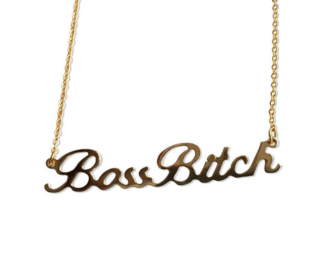 Gold Boss Bitch Script Necklace, by Well Done Goods