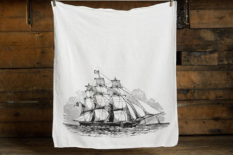 Clipper Ship Cotton Flour Sack Towel, by Well Done Goods