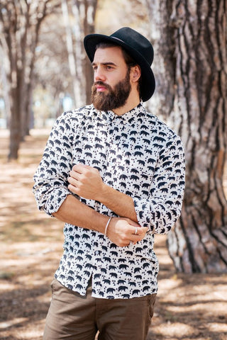 Bear Print Long Sleeve Button-up Shirt, Fall Fashion Shirt, by Well Done Goods