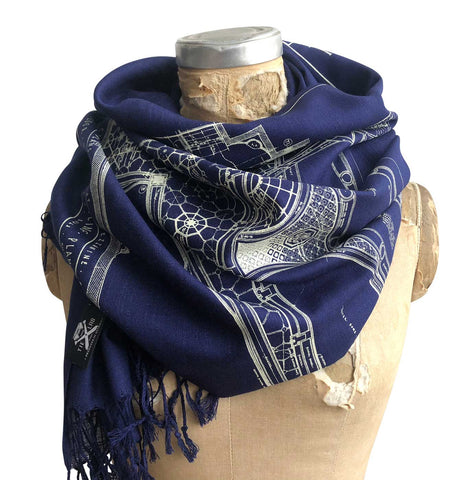 Capitol Theatre Detroit Blueprint Bamboo Scarf, Navy Blue. Michigan Opera Theatre Pashmina by Cyberoptix