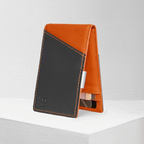Charcoal and Rust RFID Money Clip Wallet, by Forrest & Harold