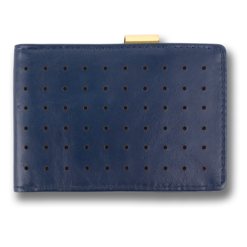 Blue Corinthian Perforated Leather Wallet: CONCORD by Orchill
