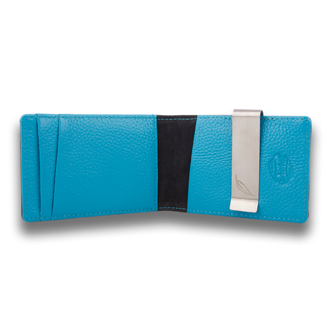 Sky Blue & Black Leather Wallet: CONCORD by Orchill