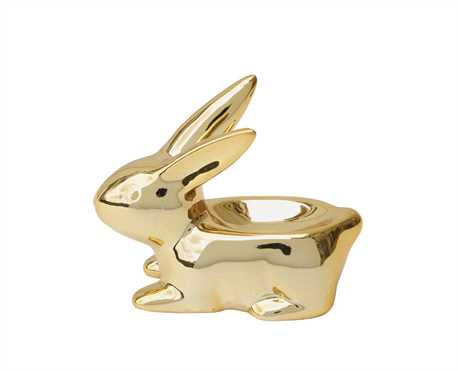 Golden Porcelain Bunny Ring Dish, Well Done Goods