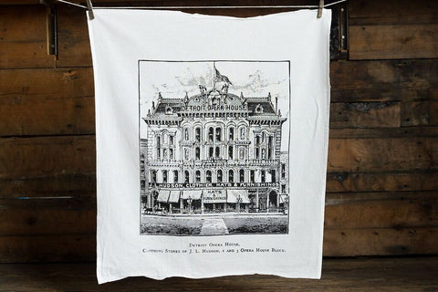 Detroit Opera House and J.L. Hudson's Flour Sack Towel, by Well Done Goods
