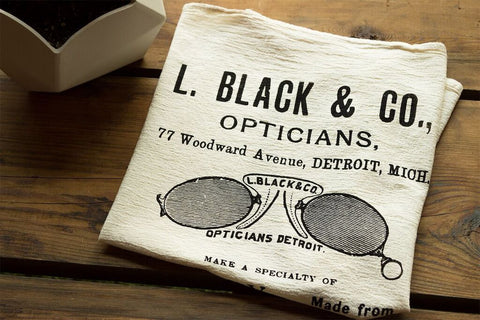 Detroit Optician Organic Cotton Flour Sack Towel, Vintage Advertisement, by Well Done Goods