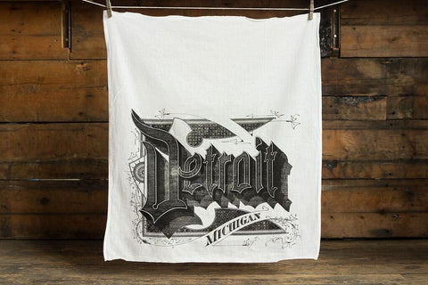 Detroit Typography Egyptian Cotton Flour Sack Towel, Roaring 20s Script Print, by Well Done Goods