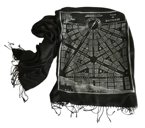Black Detroit Map Printed Scarf, 1831 City Plan, Cyberoptix