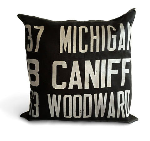Detroit Bus Scroll Throw Pillow