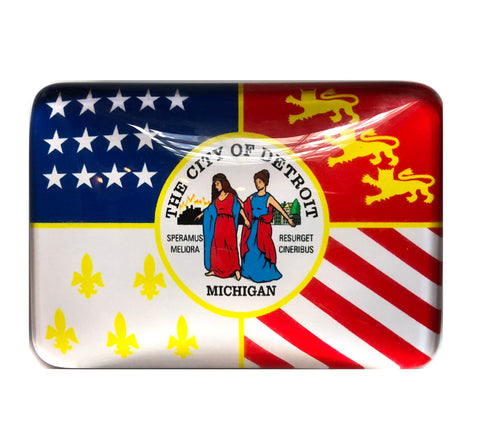 Detroit Flag Magnet, Glass Fridge Magnet
