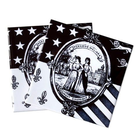 Detroit 1940s City Flag Decorative Tiles, Black & White Ceramic Coasters. Well Done Goods
