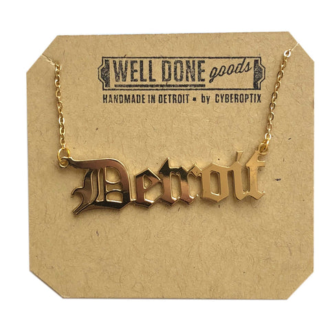 Detroit Old English Script Necklace, gold