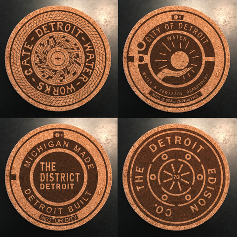 RethinkTANK Manhole Coasters Detroit, Set of 4. at Well Done Goods