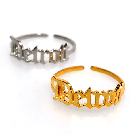 Detroit Adjustable Rings, Old English Script