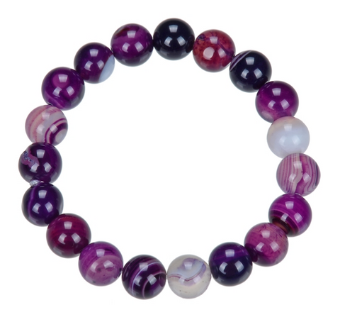 "Chevron / ""Dog Tooth"" Amethyst Stone Bead Mala Bracelet, 10mm"