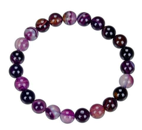 "Chevron / ""Dog Tooth"" Amethyst Stone Bead Mala Bracelet, 8mm"