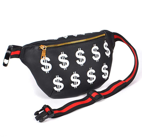Dollar Sign Fanny Pack, black. Well Done Goods