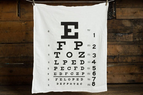 Eye Chart White Egyptian Cotton Flour Sack Towel, Snellen Eye Test Print, by Well Done Goods