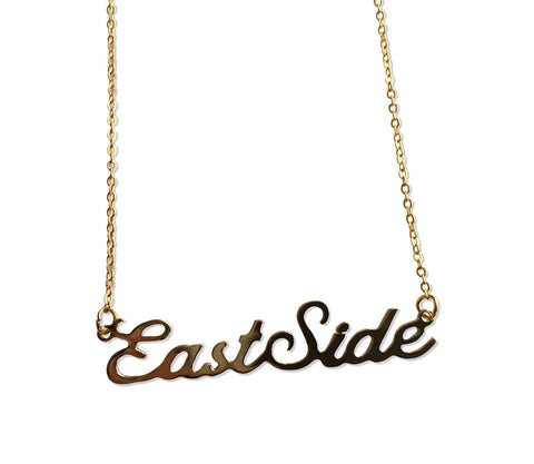 East Side Script Necklace. Gold Detroit Neighborhood Name Pendant, by Well Done Goods