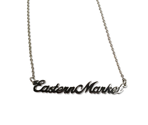 Silver Eastern market Script Necklace. Detroit Neighborhood, well done goods by Cyberoptix