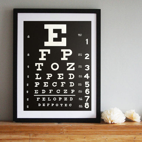 "Eye Chart Silkscreened Poster, 19""x 25"""