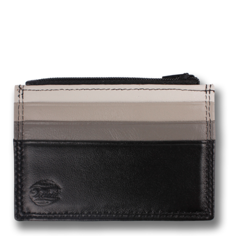 Grey Scale & Black Leather Card Case Wallet, HEMLOCK by Orchill. Well Done Goods