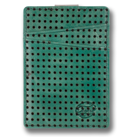 Jade Green Perforated Corinthian Leather Wallet. BOREAL, by Orchill. Well Done Goods