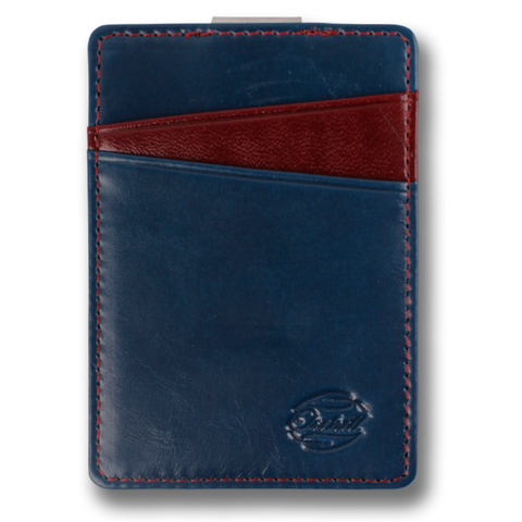Blue & Deep Red Corinthian Leather Wallet. BOREAL Money Clip by Orchill