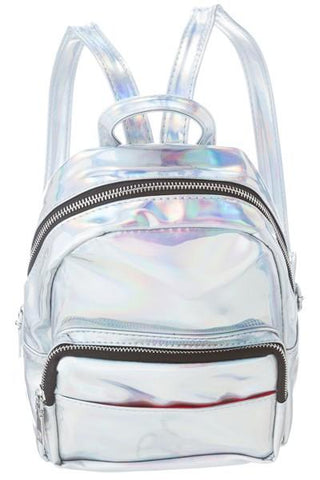 Small Iridescent Silver Hologram Mini Backpack