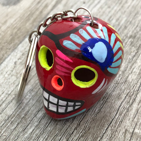 Hand Painted Ceramic Mexican Sugar Skull Keychain, red