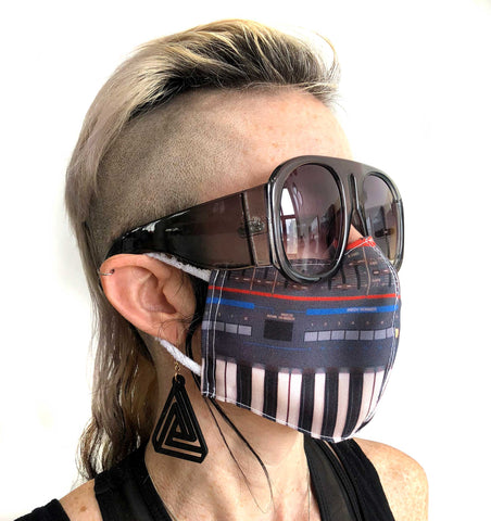 Juno Face Mask, Synthesizer Print. Fitted Two Layer Cloth Face Cover, Hand Made in Detroit, USA