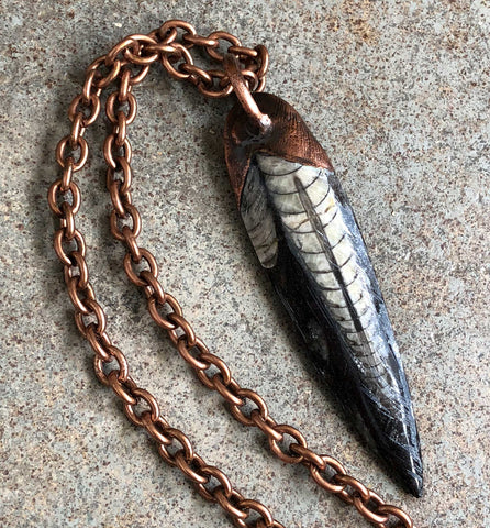 Orthoceras Fossil Electroformed Copper Pendants