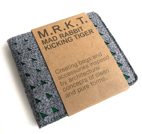 M.R.K.T. Laser Cut Industrial Felt Diego Wallet. Elephant Grey/Forest Green