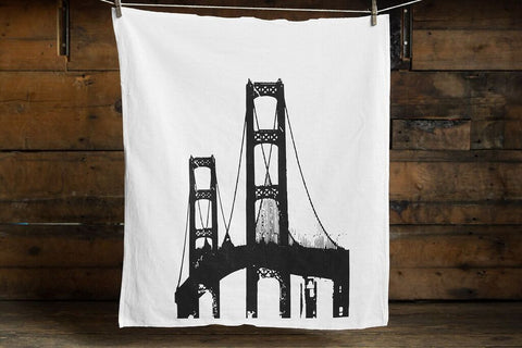 Mackinac Bridge Cotton Flour Sack Towel, by Well Done Goods