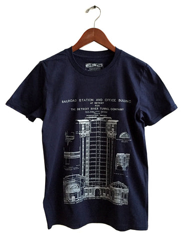 MCS Detroit Train Station Blueprint T-Shirt, navy Blue.  By Well done Goods