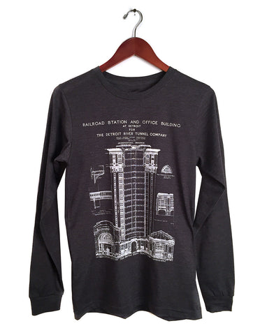 MCS Detroit Train Station Blueprint Long Sleeve Shirt, dark grey heather. Well Done Goods